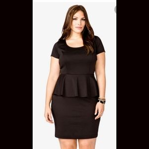 Short Sleeve Black Peplum Dress